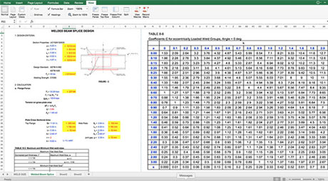 Welding Splice Design of Beam Spreadsheet Download - Beam Welding