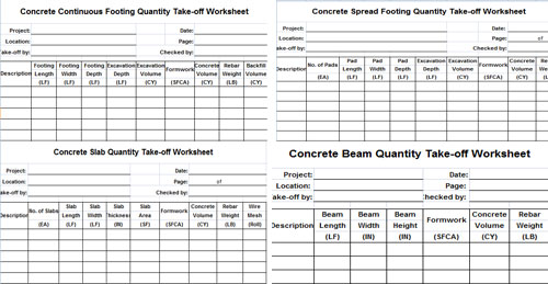 Download Concrete Continuous Footing Quantity Take Off Worksheet Template