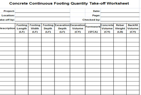Download Concrete Continuous Footing Quantity Take Off