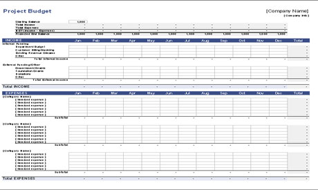 Construction Project Budget Template Download - Free Monthly