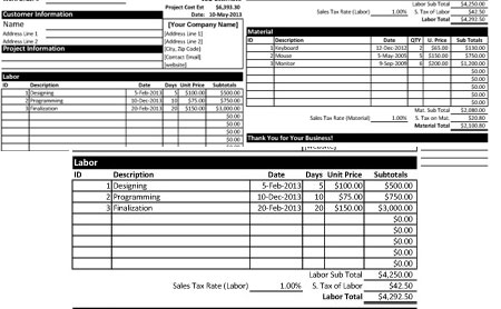 Download Project Cost Estimate Proposal Template In Excel Format