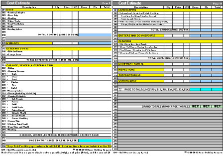 home construction cost estimate forms in excel download free