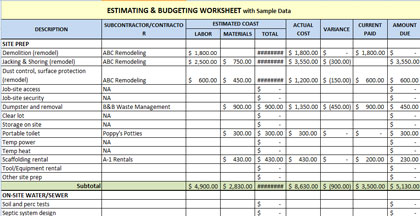 Download Free Construction Estimating Spreadsheet Template