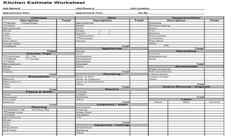 Estimating Template  Kitchen Cost Estimate Worksheet