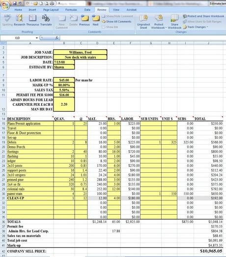 excel construction bid template - Khafre