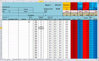 Structural Estimating Sheet Template Download