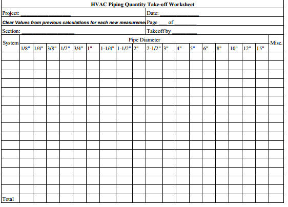Hvac Piping Quantity Takeoff Template