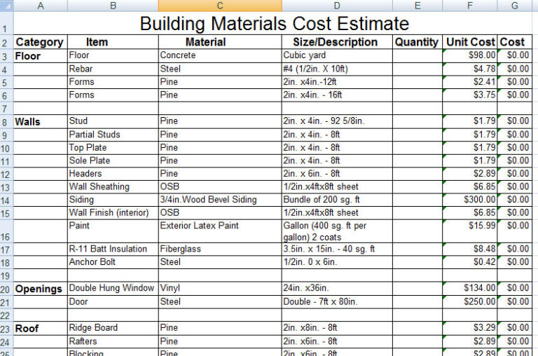 Download construction building materials cost estimate for Material list for building a house spreadsheet