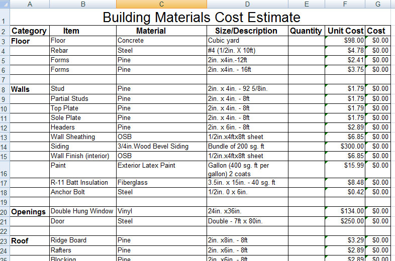 Building materials cost estimate archives for Material list for building a house spreadsheet