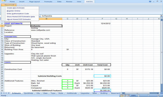 Review And Download Homecost Estimator Excel Based