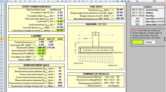 Download Reinforced Concrete Strip Footing Design Spreadsheet – Spread Footing Design Spreadsheet