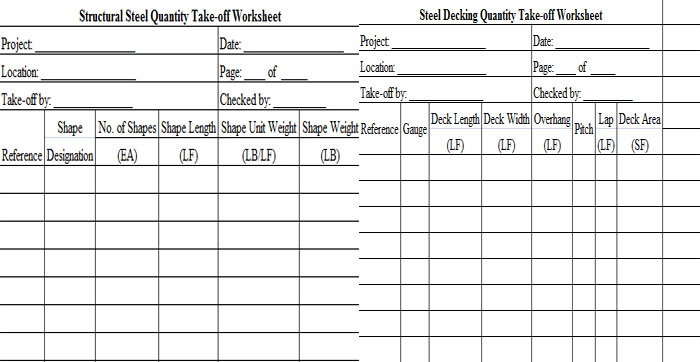 Download Structural Steel Quantity Take-off Worksheet