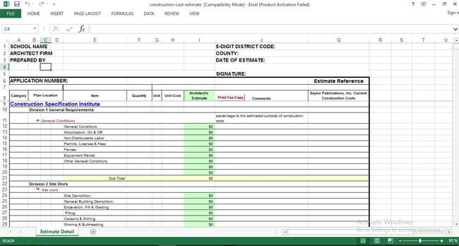 free construction cost estimating sheet