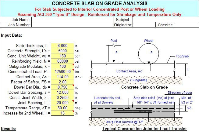 concrete slab on grade sheet