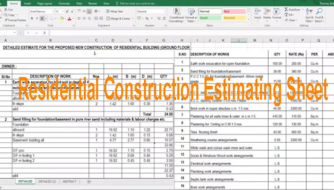 download residential construction building estimate template for