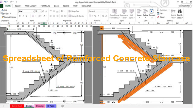 Spreadsheet of Reinforced Concrete Staircase