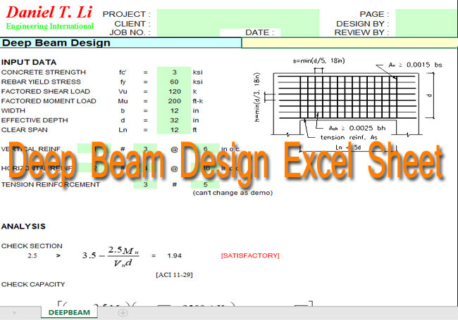 The Deep Beam Design using Excel Spreadsheets - ConstructUpdate com