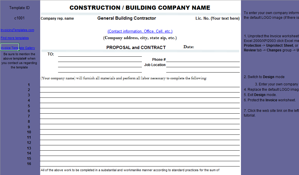 Download Construction Proposal Free Invoice Template In Excel Workbook Format Xls Or Xlsx