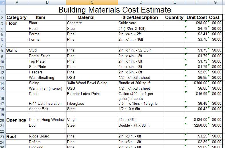 Download Construction Building Materials Cost Estimate