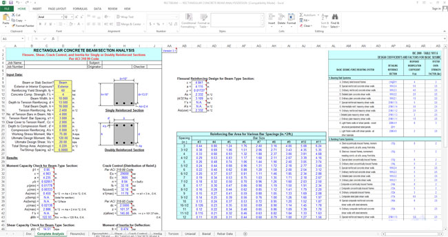 Download Reinforced Concrete Design Spreadsheet Using