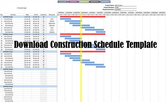 Download Construction Schedule Template Project Schedule Template Download Free Constructupdate Com